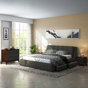 Stanhope Upholstered Storage Compact Bedroom Set (Queen Bed Size, Charcoal Grey)