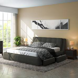 Stanhope Upholstered Storage Essential Bedroom Set (King Bed Size, Charcoal Grey) by Urban Ladder