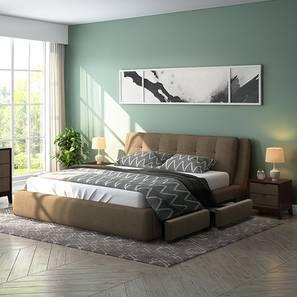 Stanhope Upholstered Storage Essential Bedroom Set (King Bed Size, Mist Brown) by Urban Ladder