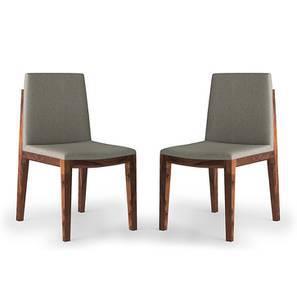 Galatea Dining Chair - Set Of 2 (Teak Finish, Grey) by Urban Ladder