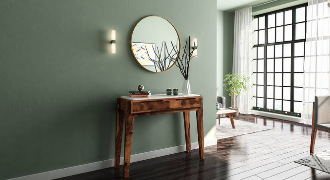 Galatea Marble Console Table (Teak Finish) by Urban Ladder