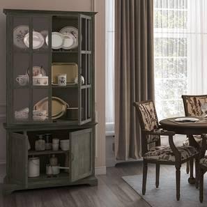 Eleanor Display Cum Crockery Cabinet (Vintage Grey Oak Finish)
