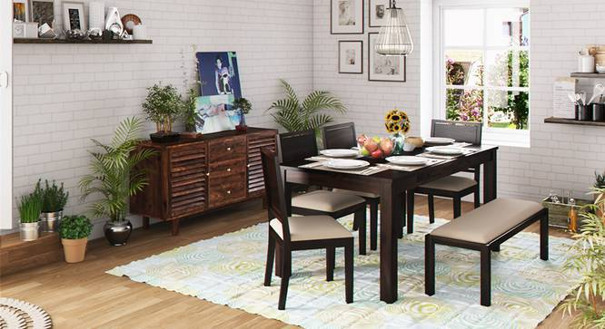 Arabia XL Storage - Oribi 6 Seater Dining Table Set (With Upholstered Bench) (Mahogany Finish, Wheat Brown) by Urban Ladder