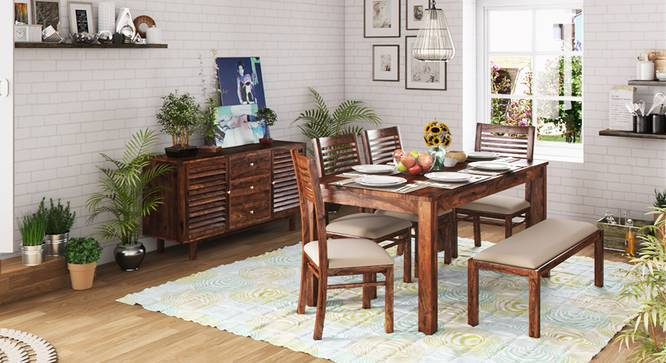 Arabia XL Storage - Zella 6 Seater Dining Table Set (With Upholstered Bench) (Teak Finish, Wheat Brown) by Urban Ladder