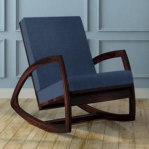 Dylan Rocking Chair (Mahogany Finish, Blue)
