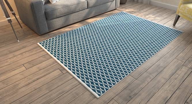 "Amaro Dhurrie (48"" x 72"" Carpet Size, Blue & White) by Urban Ladder"