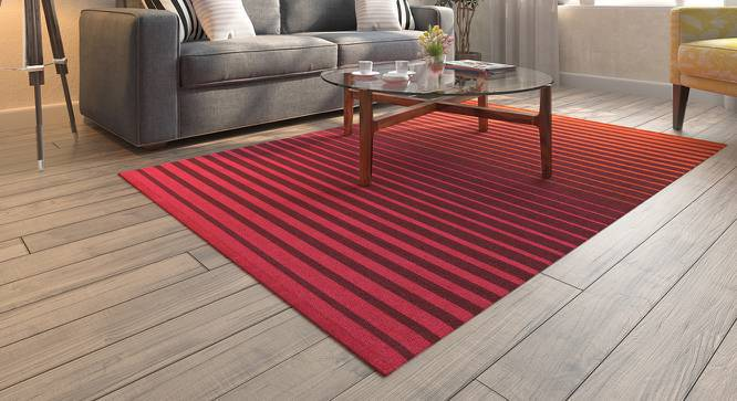 "Grevy Dhurrie (36"" x 60"" Carpet Size, Pink & Orange) by Urban Ladder"