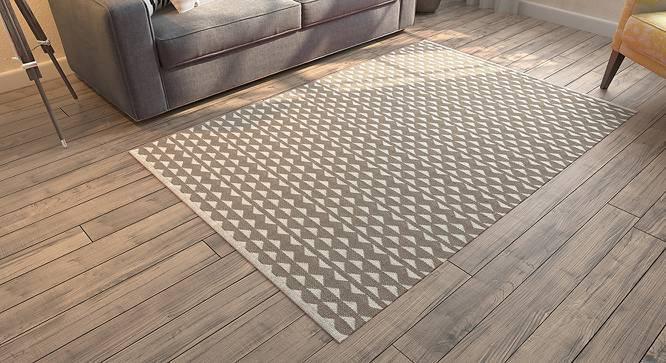 "Viviani Dhurrie (Rectangle Carpet Shape, 36"" x 60"" Carpet Size, Grey & White) by Urban Ladder"