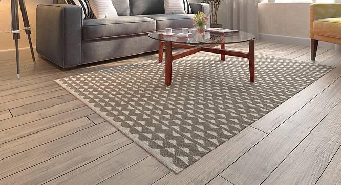 "Viviani Dhurrie (Rectangle Carpet Shape, 48"" x 72"" Carpet Size, Grey & White) by Urban Ladder"