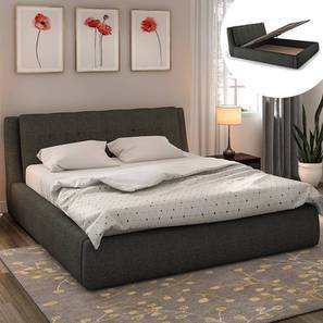 Stanhope Hydraulic Bed with Chest of Drawer and Mattress (King Bed Size, Charcoal Grey)