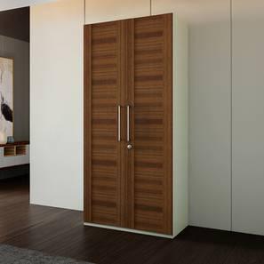 Voris Wardrobe (Walnut Finish, Two Door, Internal Drawer Configuration)