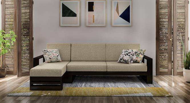 Parson Sectional Wooden Sofa (Left Aligned 3 Seater With Chaise) (Mahogany Finish, Macadamia Brown) by Urban Ladder