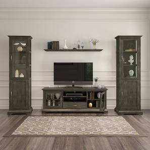 Eleanor TV Unit with Wall Shelf and Display Cabinet (Vintage Grey Oak Finish)