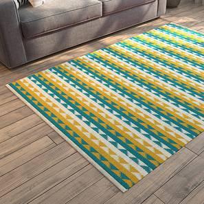 "Sayan Dhurrie (24"" x 60"" Carpet Size, Yellow & Blue)"
