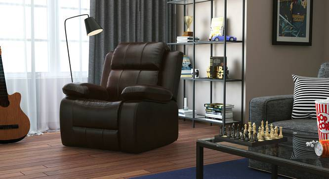 Robert Half Leather One Seater Recliner Sofa (Chocolate) by Urban Ladder