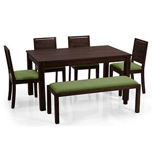 Arabia XL - Oribi 6 Seater Dining Set (With Bench) (Mahogany Finish, Avocado Green)