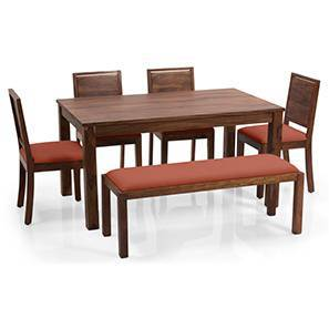 Arabia XL - Oribi 6 Seater Dining Set (With Bench) (Teak Finish, Burnt Orange)
