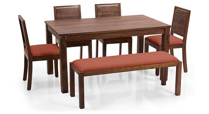 Arabia XL - Oribi 6 Seater Dining Set (With Bench) (Teak Finish, Burnt Orange) by Urban Ladder