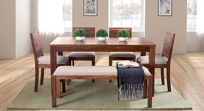 Arabia XL - Oribi 6 Seater Dining Set (With Bench) (Teak Finish, Wheat Brown) by Urban Ladder