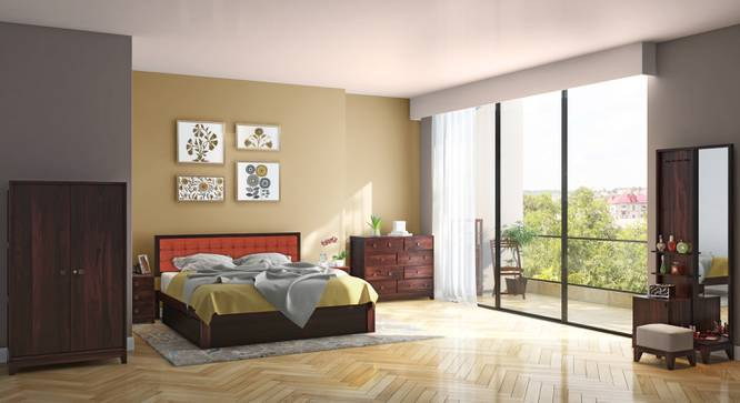 Florence - Magellan Complete Storage Bedroom Set (Mahogany Finish, King Bed Size, Lava) by Urban Ladder