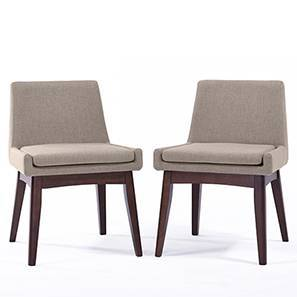 Leon Dining Chairs - Set of 2 (Beige, Dark Walnut Finish)