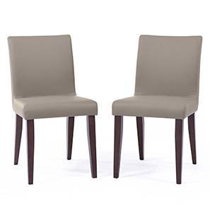 Persica Dining Chair - Set of 2 (Beige, Dark Walnut Finish)
