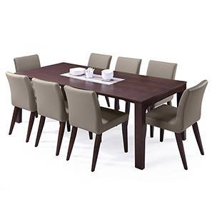 Arco - Persica 8 Seater Dining Table Set (Beige, Dark Walnut Finish) by Urban Ladder