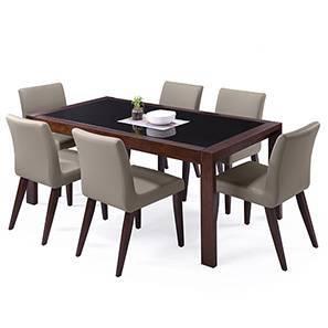 Vanalen 6-to-8 Extendable - Persica 6 Seater Dining Table Set (Beige, Dark Walnut Finish)