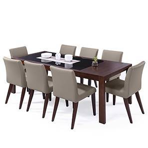 Vanalen 6-to-8 Extendable - Persica 8 Seater Dining Table Set (Beige, Dark Walnut Finish)