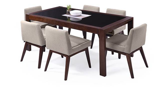 Vanalen 6-to-8 Extendable - Leon 6 Seater Dining Table Set (Beige, Dark Walnut Finish) by Urban Ladder
