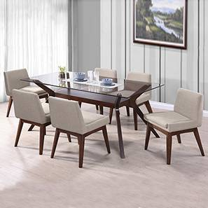 Wesley - Leon Armchair 6 Seater Dining Table Set (Beige, Dark Walnut Finish)