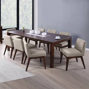 Arco - Leon 8 Seater Dining Table Set (Beige, Dark Walnut Finish) by Urban Ladder