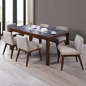 Arco - Leon 8 Seater Dining Table Set (Beige, Dark Walnut Finish)