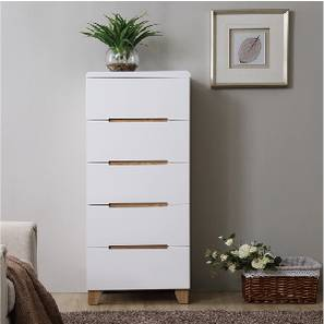 Oslo Tall Chest of Drawers (White Finish) by Urban Ladder