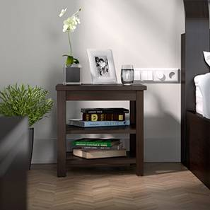 Alcott Bedside Table (Dark Walnut Finish, Without Drawer Configuration)