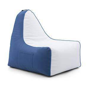Hackey Leatherette Beanbag Chair (Blue & White, Large Size, Without Beans Variant)