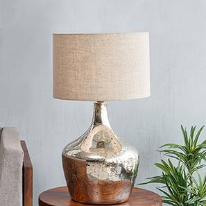 Donna Table Lamp (Silver Mercury Base Finish, Cylindrical Shade Shape, Natural Shade Color) by Urban Ladder
