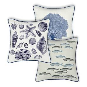 "Songs of the Sea Cushions - Assorted Set Of 3 (16"" X 16"" Cushion Size)"