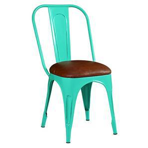 Soren metal chair leatherette seat blue lp