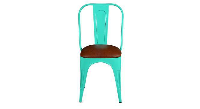 Soren Metal Chair (Leatherette Seat) (Blue) by Urban Ladder