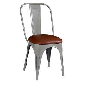Soren metal chair leatherette seat grey lp