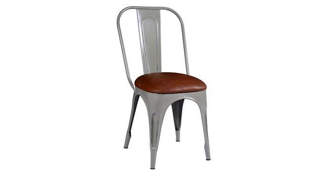 Soren Metal Chair (Leatherette Seat) (Grey) by Urban Ladder