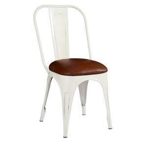 Soren Metal Chair (Leatherette Seat) (Cream)