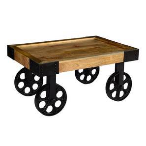 Arkwright coffee table with wheels natural lp