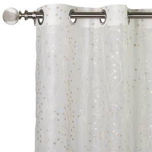 "Osterley Embroidered Sheer Curtain - Set Of 2 (Ivory, 52""x84"" Curtain Size) by Urban Ladder"