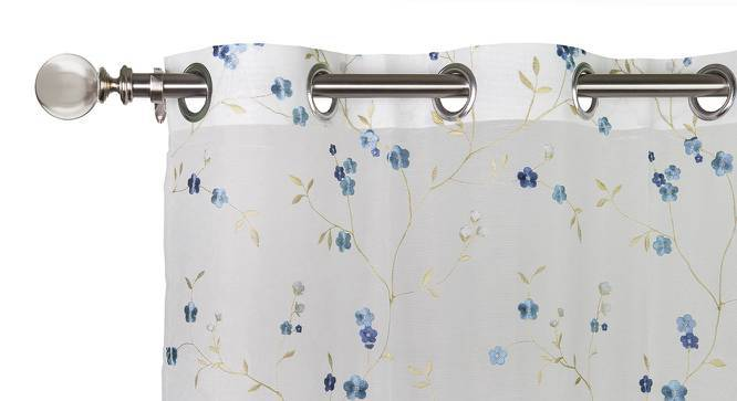 """Tivoli Embroidered Sheer Curtain - Set Of 2 (Blue, 52""""x84"""" Curtain Size) by Urban Ladder"""