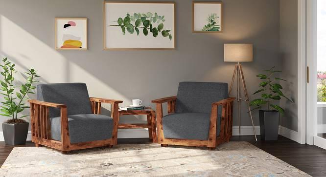 Serra Wooden Sofa 1 Seater (Teak Finish, Smoke) by Urban Ladder