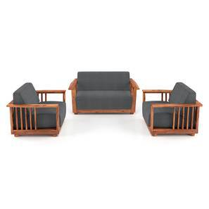 Serra Wooden Sofa - 2-1-1 Set (Teak Finish, Smoke) by Urban Ladder