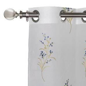 """Versailles Embroidered Sheer Curtain - Set Of 2 (Blue, 52""""x84"""" Curtain Size)"""