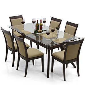 Wesley - Dalla 6 Seater Dining Table Set (Beige, Dark Walnut Finish) by Urban Ladder